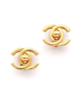 Chanel What Goes Around Comes Around Turn Lock CC Earrings (Previously Owned)