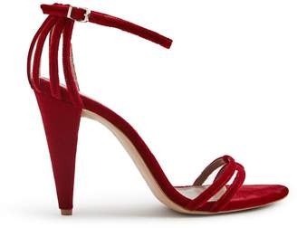 Reiss ILSA VELVET VELVET OPEN TOE SANDALS Berry