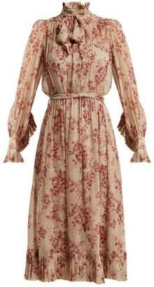 Zimmermann Unbridled Floral Print Silk Chiffon Dress - Womens - Pink Print
