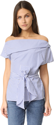 J.O.A. Off The Shoulder Stripe Tunic $70 thestylecure.com