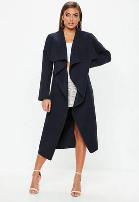 Missguided Navy Waterfall Duster Coat