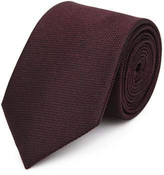 Reiss Ceremony - Textured Silk Tie in Burgundy