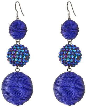 Kenneth Jay Lane Triple Graduated Blue Ball Fish Hook Ear End Balls Thread Wrap/Center Sparkle Wire Earrings Earring