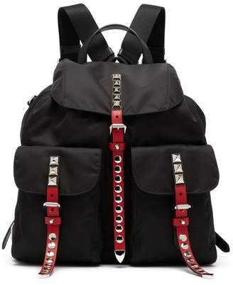 Prada Stud Embellished Nylon Backpack - Womens - Black Multi