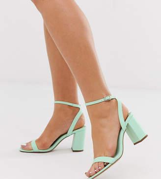 Barely There Asos Design ASOS DESIGN Hong Kong block heeled sandals in mint