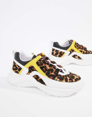 Kurt Geiger London Lunar leopard pony effect color contrast sneakers