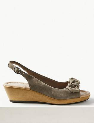Marks and Spencer Suede Wedge Bow Sandals