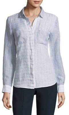Saks Fifth Avenue Striped Hi-Lo Linen Button-Down Shirt