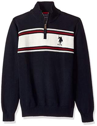 U.S. Polo Assn. Men's Chest Stripe 1/4 Zip Sweater