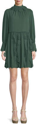 See by Chloe Floral Lace Puff-Sleeve Midi Dress