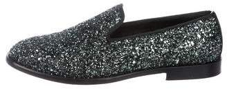 Jimmy Choo Glitter Round-Toe Loafers