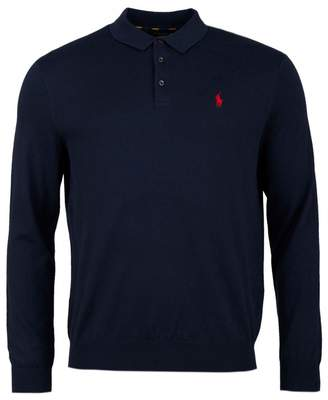 d2fd5310 Polo Ralph Lauren Long Sleeved Knitted Polo Shirt Colour: NAVY, Size: