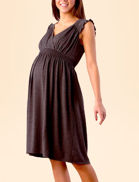 Short Sleeve Smocked Maternity Dress
