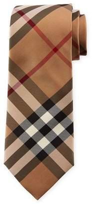 Burberry Manston Modern-Cut Check Silk Twill Tie, Camel
