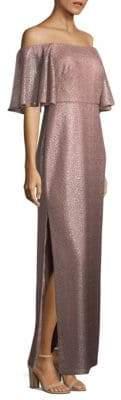 Aidan Mattox Off-The-Shoulder Metallic Gown