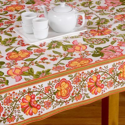 Coral and Cream Sarika Tablecloth or Runner