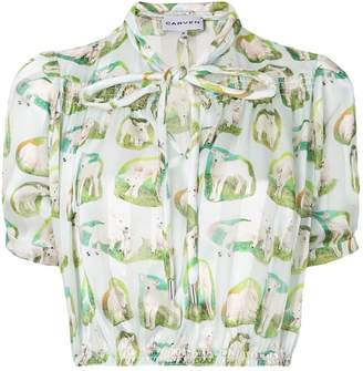 Carven sheep print cropped shirt