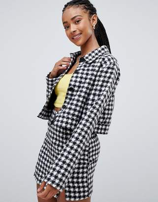 Emory Park trucker jacket in houndstooth co-ord