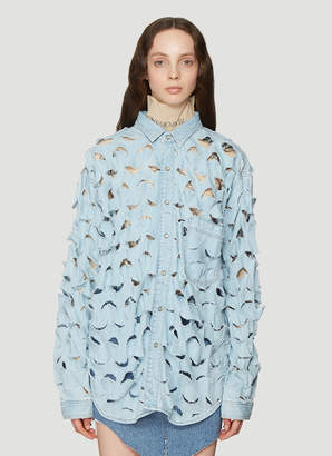 e47623253f7 Vetements Cut-Out Oversized Denim Shirt in Blue