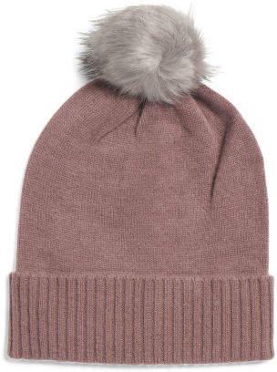 Faux Fur Pom Pom Cashmere Slouchy Hat