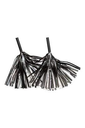 H&M Glittery Pompoms - Black/silver-colored - Women