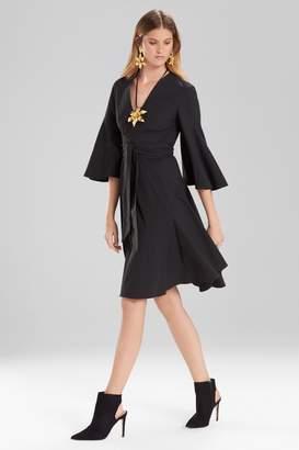 Josie Natori Cotton Poplin V-Neck Wrap Dress