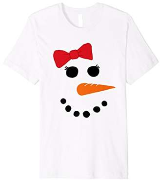 Snowgirl Costume Girl Snowman Face Shirt Red Bow
