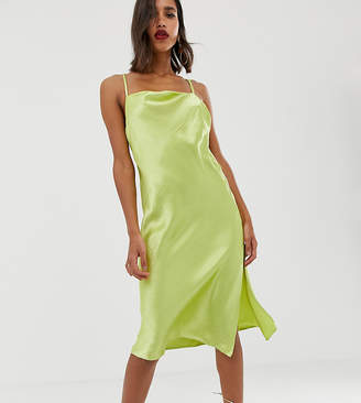 Asos Design DESIGN cami midi slip dress in high shine satin with strappy back
