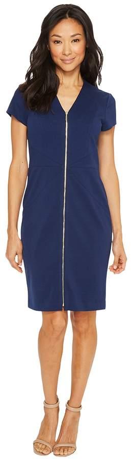 Ellen Tracy Short Sleeved Ponte Dress with Front Zipper Women's Dress