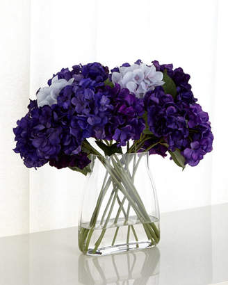 John-Richard Collection Imperial Hydrangeas Faux Florals in Glass Vase