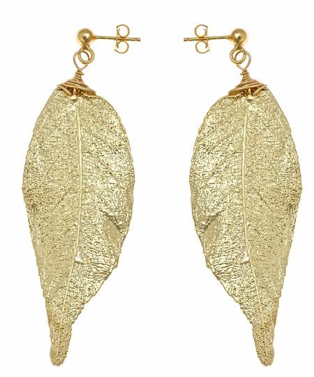 Nugaard Designs Gold Jequitiba Leaf Earrings