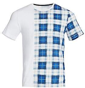 Madison Supply Men's Patchwork Plaid Cotton Tee