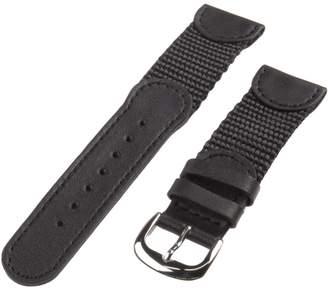 Republic Men's Genuine Leather and Nylon Watch Strap 20mm Regular Length, Black
