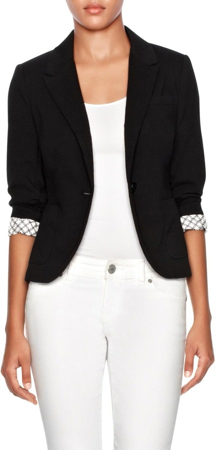 Shirred Sleeve Ponte Blazer