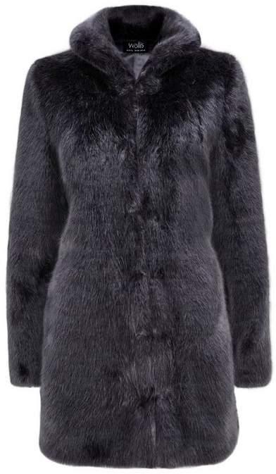 Charcoal Plush Faux Fur Coat