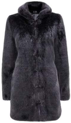 Wallis Charcoal Plush Faux Fur Coat