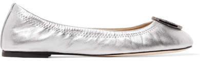 Tory Burch - Liana Embellished Metallic Leather Ballet Flats - Silver