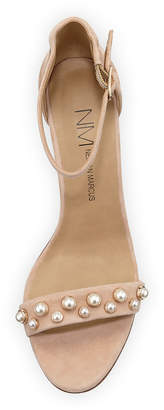 Neiman Marcus Bamey Pearly-Studded Suede Block-Heel Ankle-Wrap Sandal