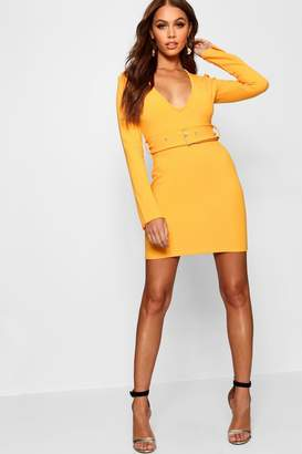 boohoo Belted Plunge Neck Mini Dress