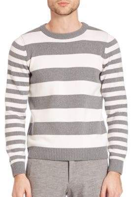 Eleventy Wool Wide Striped Sweater