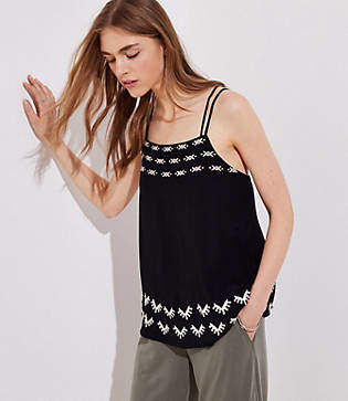 LOFT Petite Embroidered Criss Cross Cami