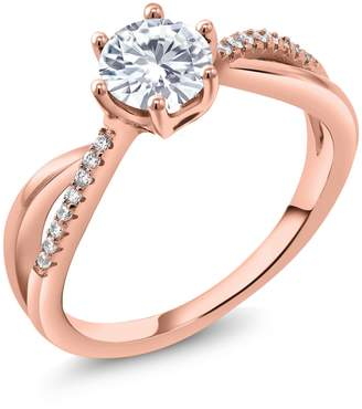 Charles & Colvard Gem Stone King 18K Rose Gold Plated Silver Solitaire w/Accent Stones Ring Forever Classic Round 0.80ct (DEW) Created Moissanite