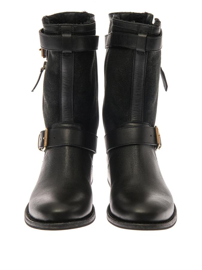 Burberry Belted-buckle leather and suede boots