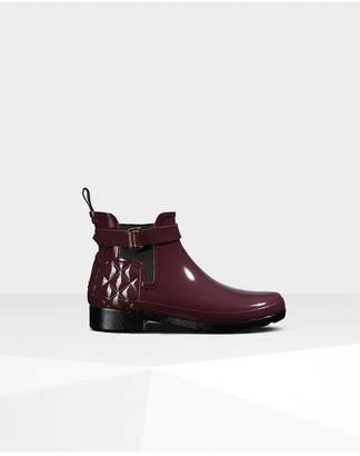 Hunter Womens Refined Slim Fit Quilted Gloss Chelsea Boots