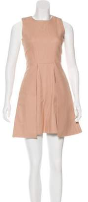 Victoria Beckham Sleeveless Pleated Dress Tan Sleeveless Pleated Dress