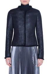Akris Punto Fringe Trim Lacquered Tweed Jacket