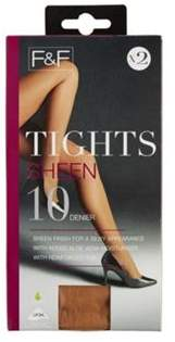 F&F 2 Pack Of Sheen Appearance 10 Denier Tights With Lycra M/L