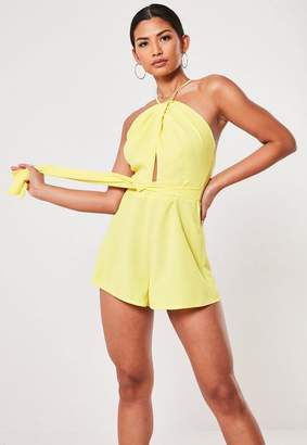 Missguided Yellow Cut Out Halterneck Romper