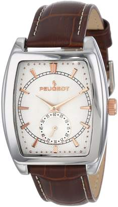 Peugeot Men's 2027 Silver-Tone Brown Leather Strap Watch
