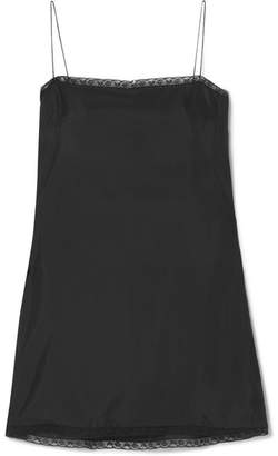Prada Lace-trimmed Satin Mini Dress - Black